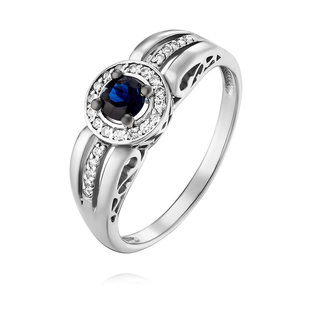 Купить Кольцо из белого золота 585 пробы с бриллиантом, сапфиром, Другие, Белый, Для женщин, 1454098/01-А511Д-432