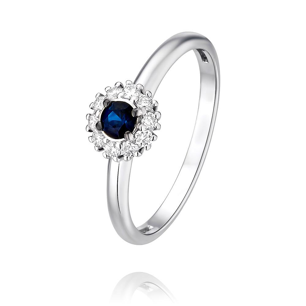 Купить Кольцо из белого золота 585 пробы с бриллиантом, сапфиром, Другие, Белый, Для женщин, 1454144/01-А511Д-432