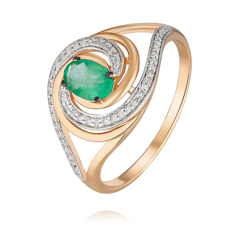 Купить Кольцо из красного золота 585 пробы с бриллиантом, изумрудом, Другие, Красный, Для женщин, 1454148/01-А50Д-433