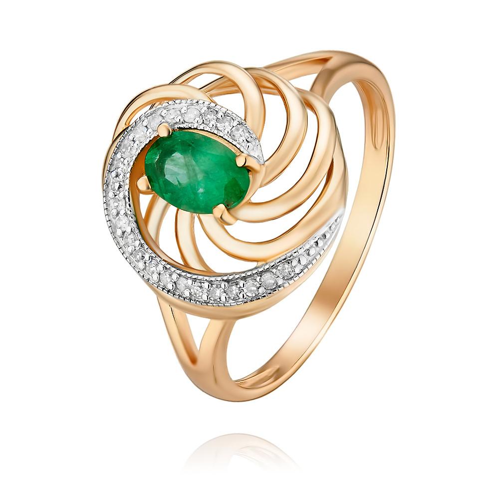 Купить Кольцо из красного золота 585 пробы с бриллиантом, изумрудом, Другие, Красный, Для женщин, 1454149/01-А50Д-433