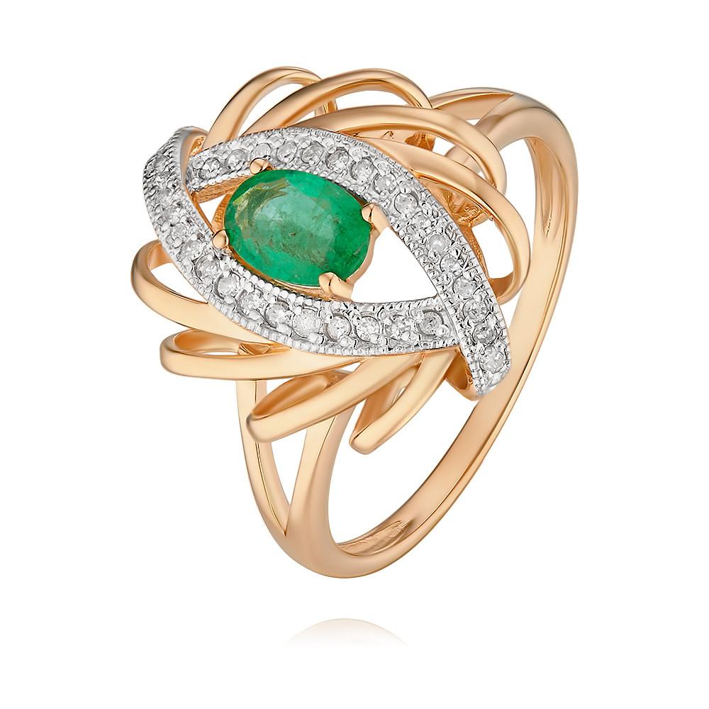 Купить Кольцо из красного золота 585 пробы с бриллиантом, изумрудом, Другие, Красный, Для женщин, 1454153/01-А50Д-433