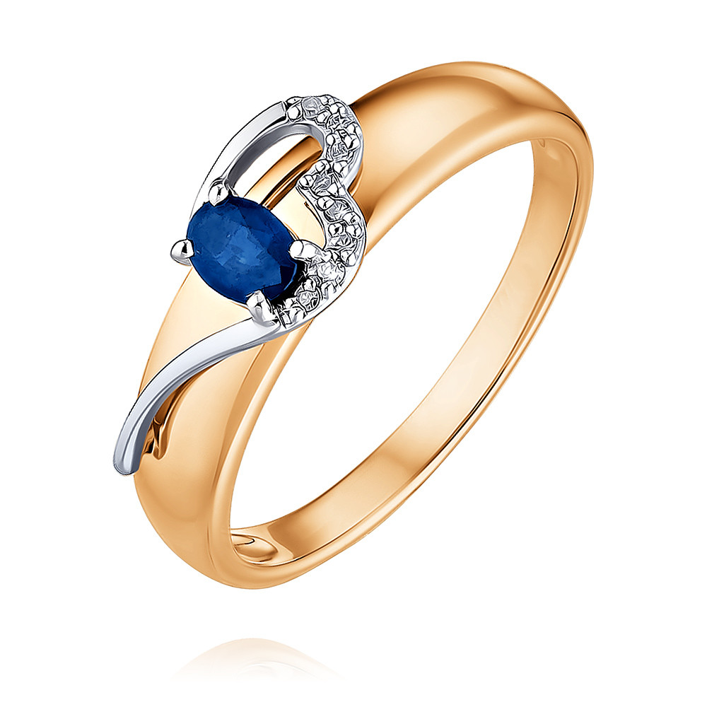 Купить Кольцо из красного золота 585 пробы с бриллиантом, сапфиром, SOKOLOV, Красный, Для женщин, 1454251/01-А50Д-432