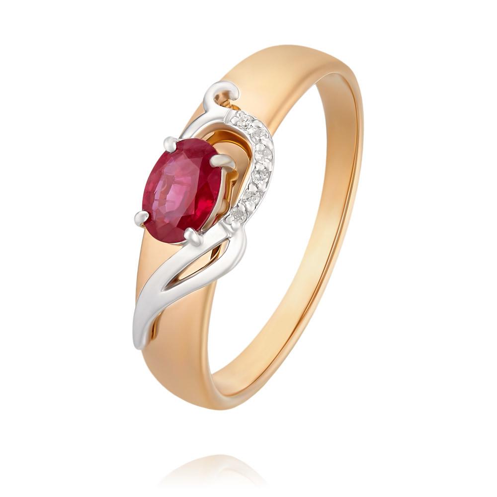 Купить Кольцо из красного золота 585 пробы с бриллиантом, рубином, SOKOLOV, Красный, Для женщин, 1454253/01-А50Д-431