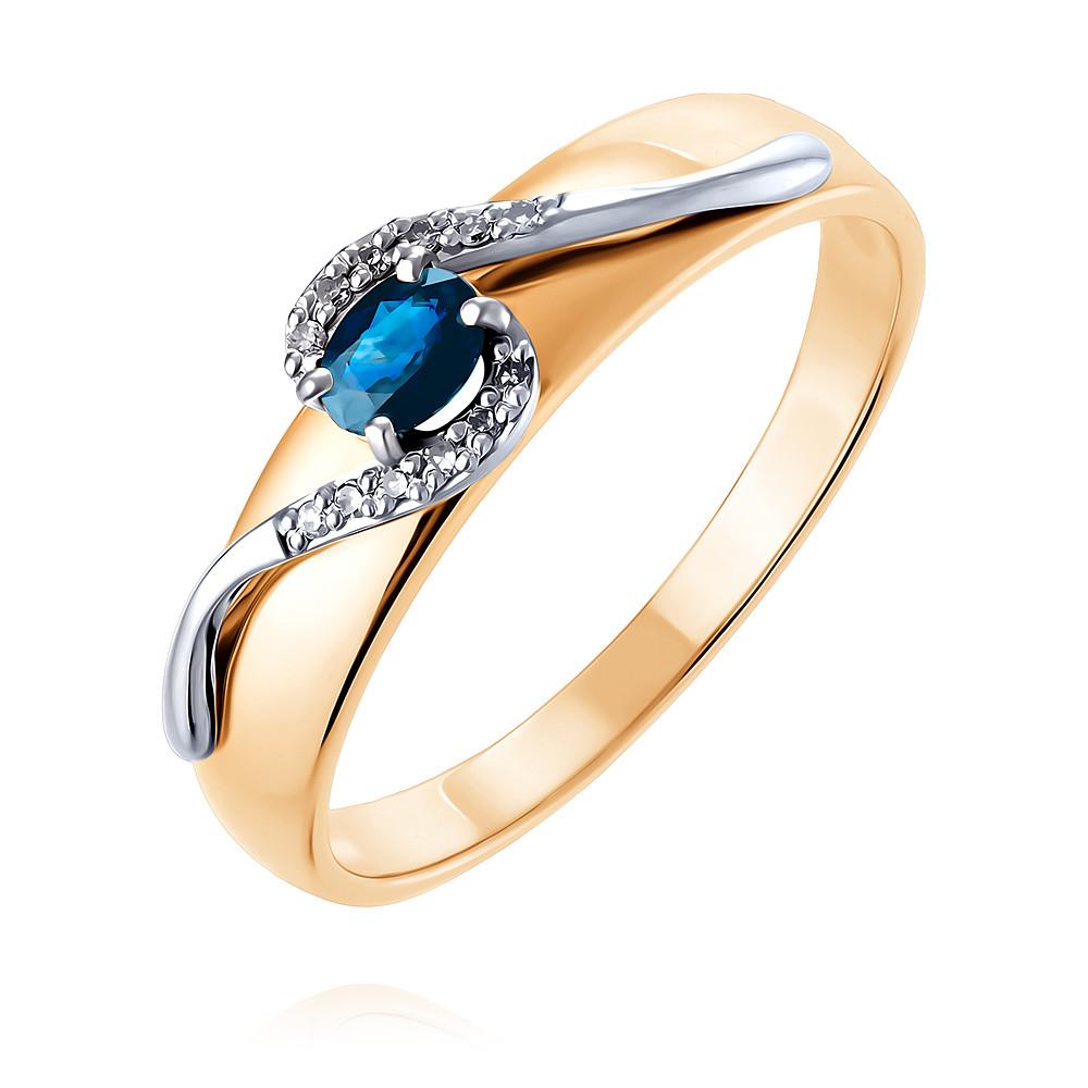 Купить Кольцо из красного золота 585 пробы с бриллиантом, сапфиром, SOKOLOV, Красный, Для женщин, 1454259/01-А50Д-432