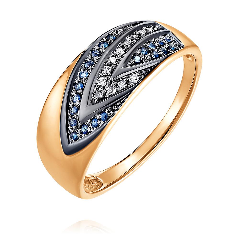 Купить Кольцо из красного золота 585 пробы с бриллиантом, сапфиром, SOKOLOV, Красный, Для женщин, 1454260/01-А50Д-432