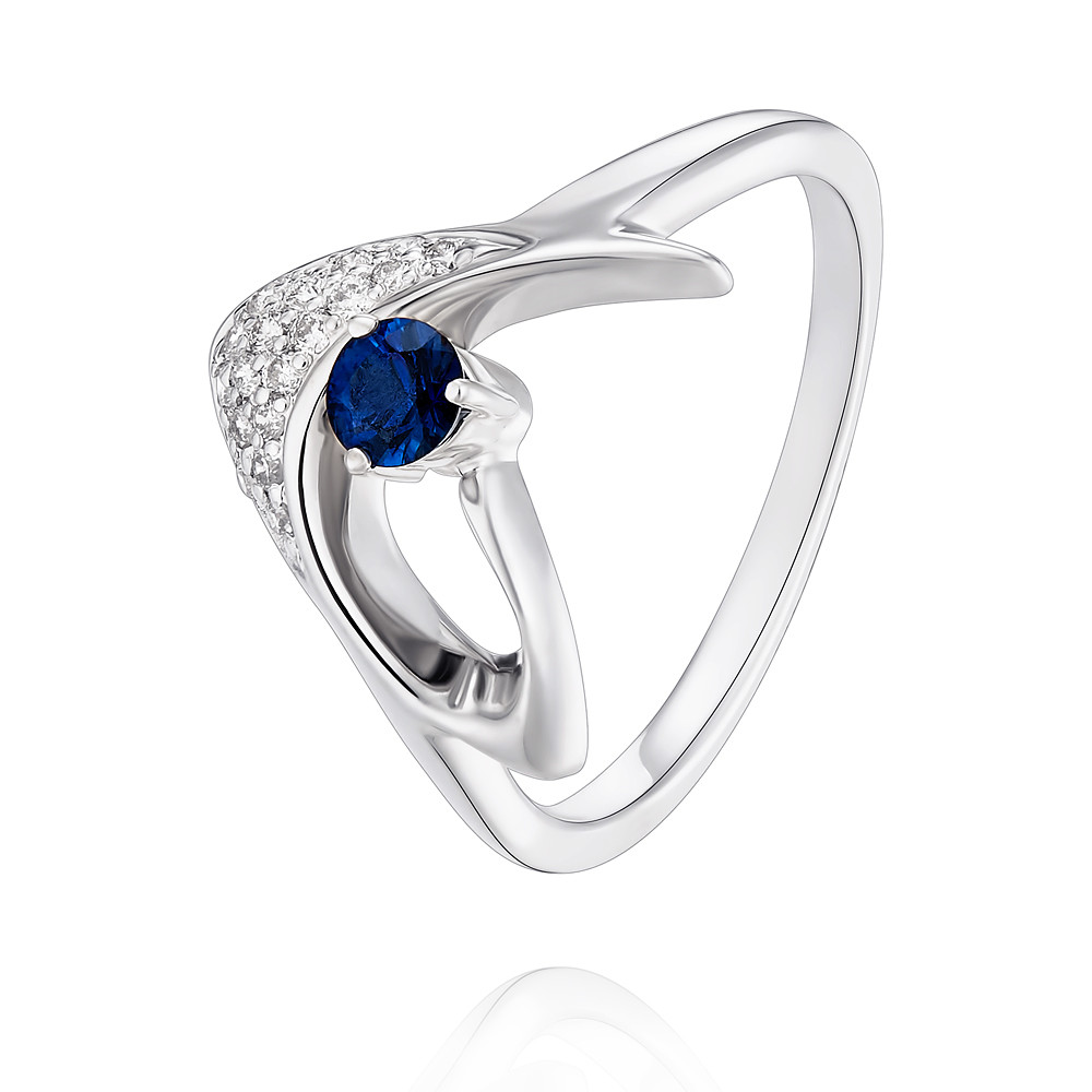 Купить Кольцо из белого золота 585 пробы с бриллиантом, сапфиром, Другие, Белый, Для женщин, 1454276/01-А511Д-432
