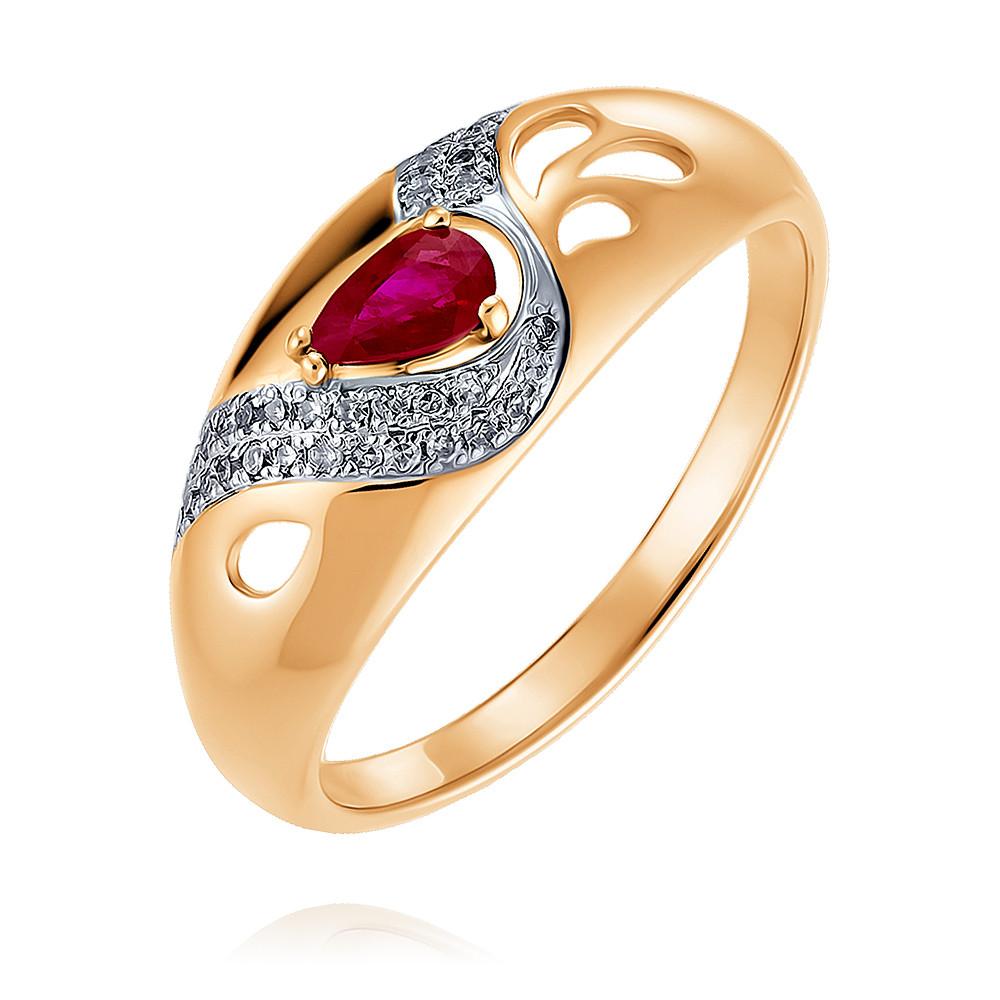 Купить Кольцо из красного золота 585 пробы с бриллиантом, рубином, SOKOLOV, Красный, Для женщин, 1454645/01-А50Д-431
