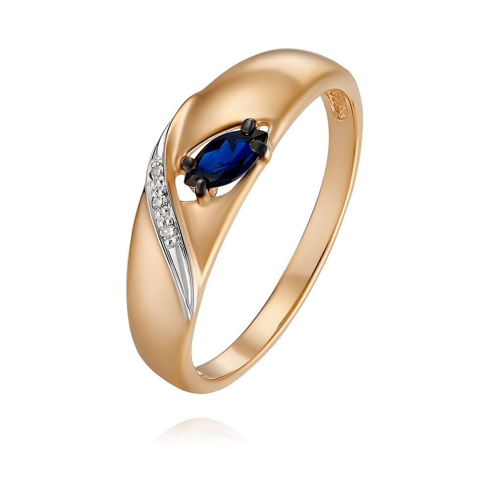 Купить Кольцо из красного золота 585 пробы с бриллиантом, сапфиром, SOKOLOV, Красный, Для женщин, 1454647/01-А50Д-432