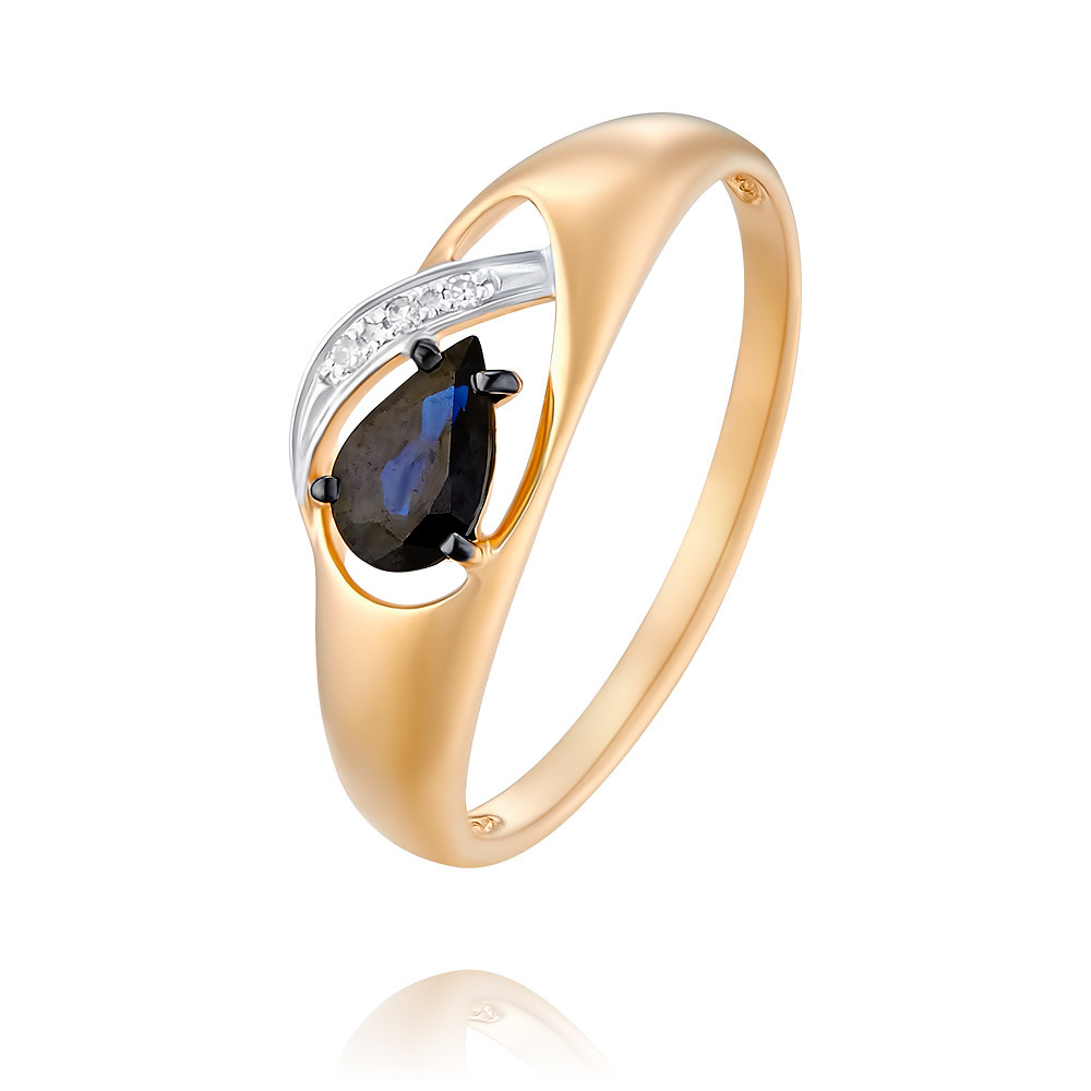 Купить Кольцо из красного золота 585 пробы с бриллиантом, сапфиром, SOKOLOV, Красный, Для женщин, 1454648/01-А50Д-432