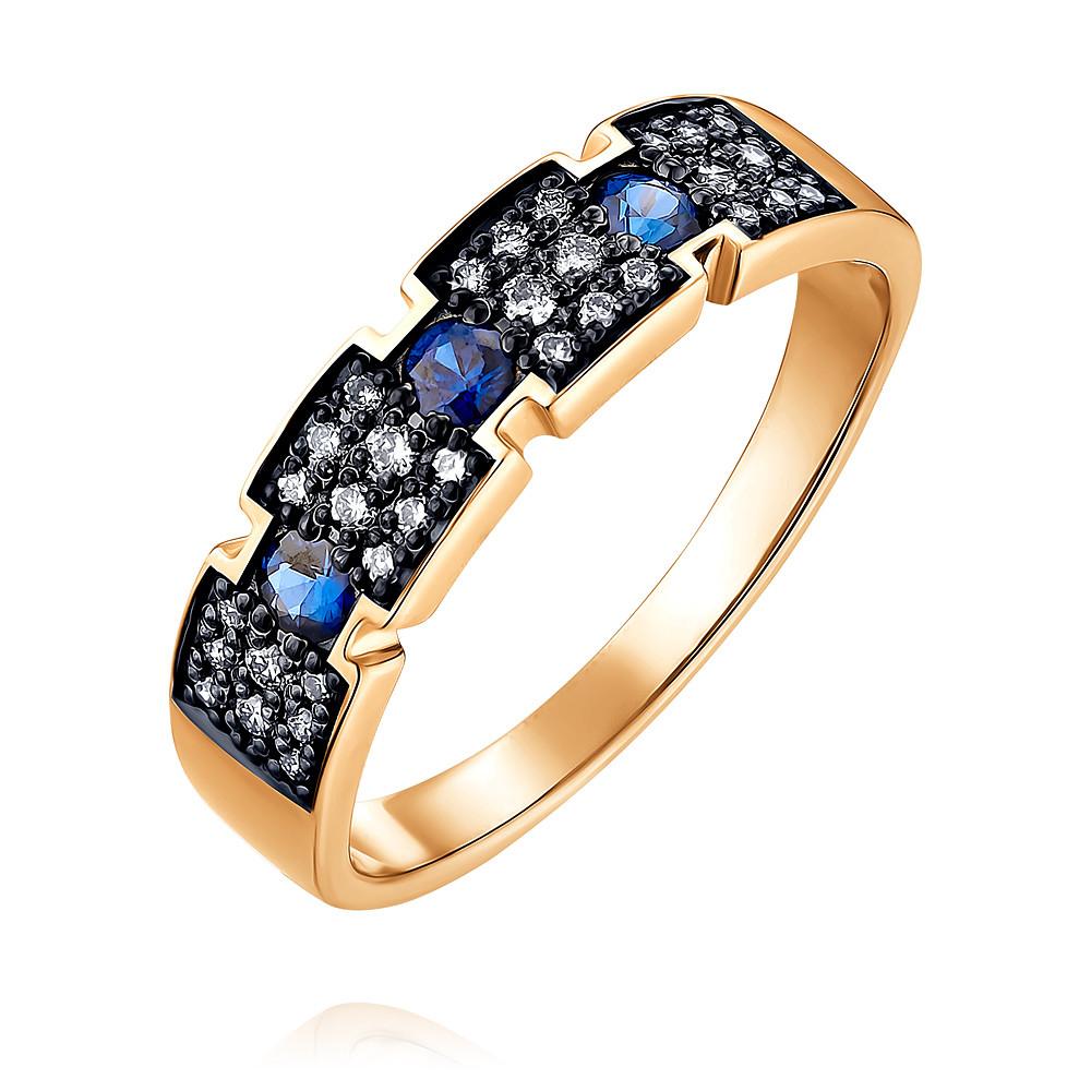 Купить Кольцо из красного золота 585 пробы с бриллиантом, сапфиром, SOKOLOV, Красный, Для женщин, 1454649/01-А50Д-432