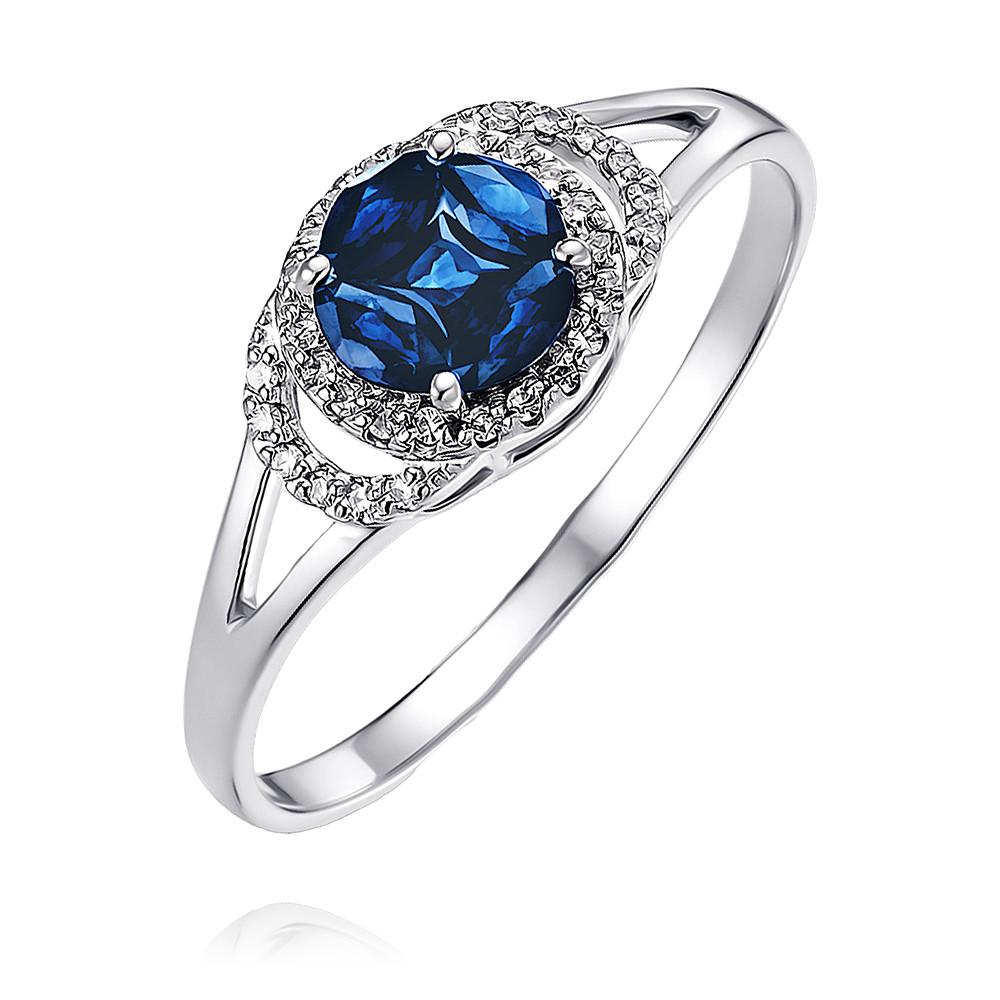 Купить Кольцо из белого золота 585 пробы с бриллиантом, сапфиром, Другие, Белый, Для женщин, 1455043/01-А511Д-432