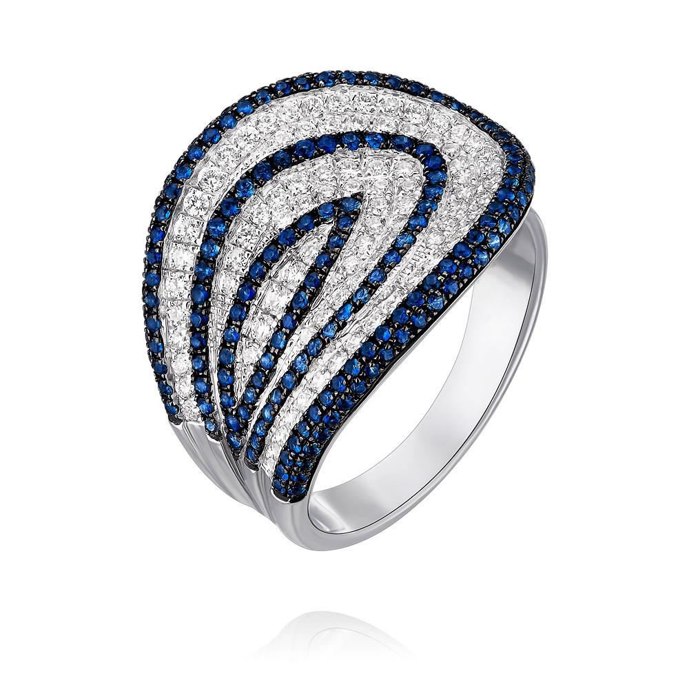 Купить Кольцо из белого золота 585 пробы с бриллиантом, сапфиром, Другие, Белый, Для женщин, 1455131/01-А511-432