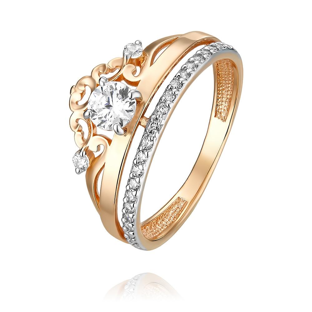 Купить Кольцо из красного золота 585 пробы с фианитом, Другие, Красный, Для женщин, 1455294/01-А50Д-72