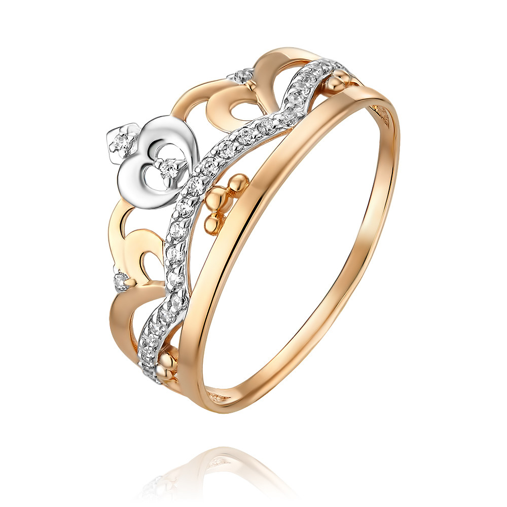 Купить Кольцо из красного золота 585 пробы с фианитом, Другие, Красный, Для женщин, 1455298/01-А50Д-72
