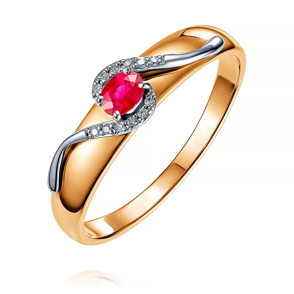 Купить Кольцо из красного золота 585 пробы с бриллиантом, рубином, SOKOLOV, Красный, Для женщин, 1455459/01-А50Д-431