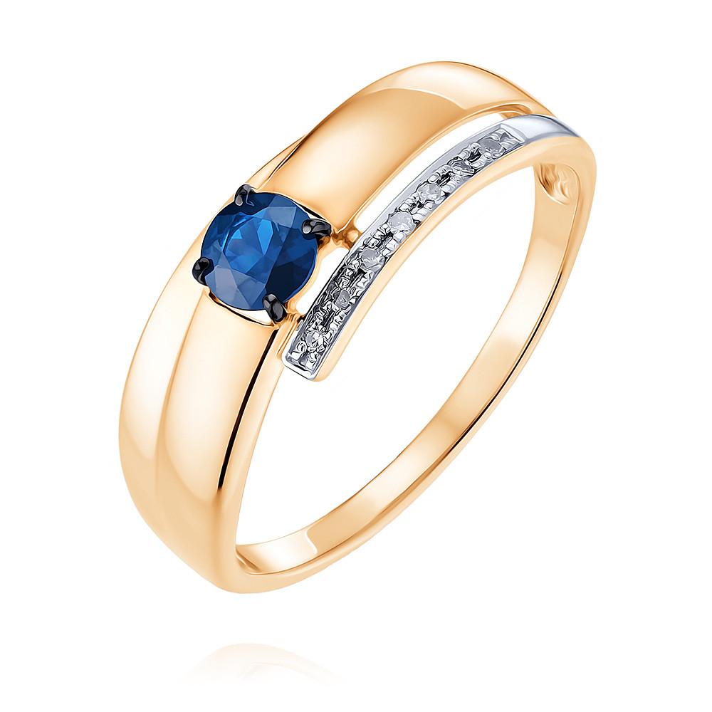 Купить Кольцо из красного золота 585 пробы с бриллиантом, сапфиром, SOKOLOV, Красный, Для женщин, 1455461/01-А50Д-432