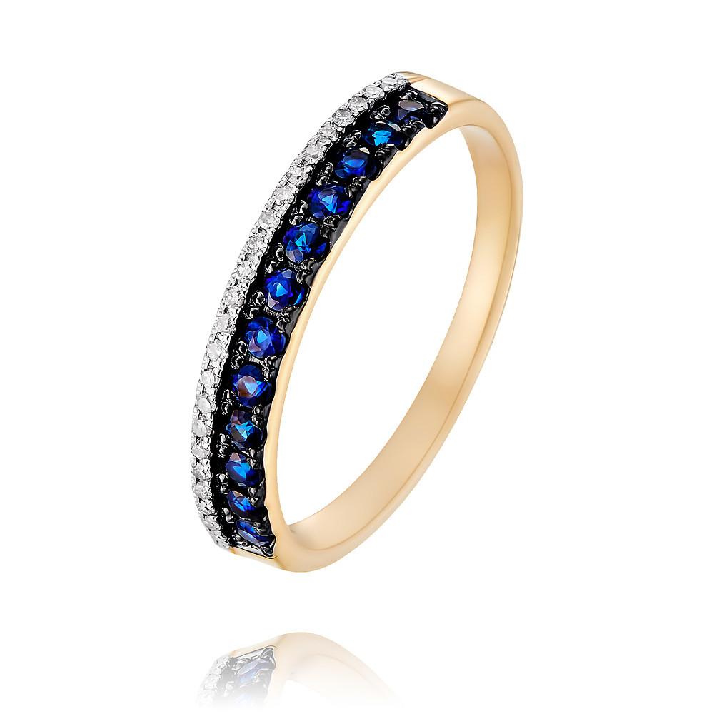 Купить Кольцо из красного золота 585 пробы с бриллиантом, сапфиром, SOKOLOV, Красный, Для женщин, 1455462/01-А50Д-432