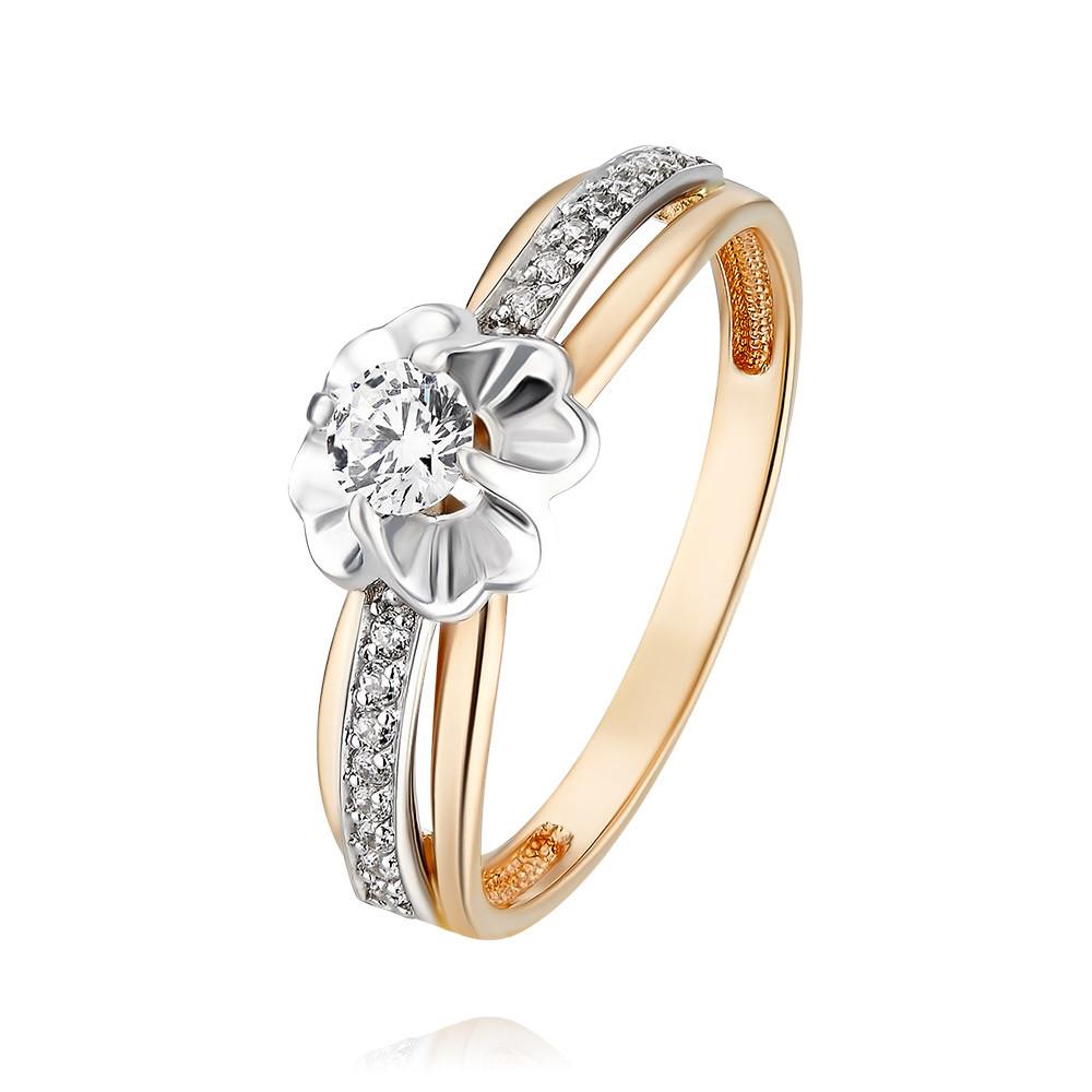 Купить Кольцо из красного золота 585 пробы с фианитом, Другие, Красный, Для женщин, 1455545/01-А50Д-72
