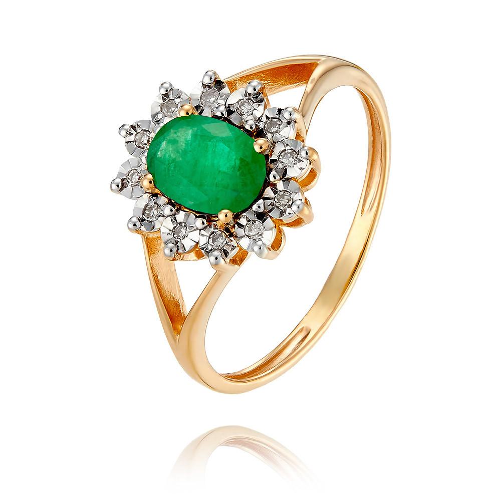 Купить Кольцо из красного золота 585 пробы с бриллиантом, изумрудом, Другие, Красный, Для женщин, 1455755/01-А50Д-433