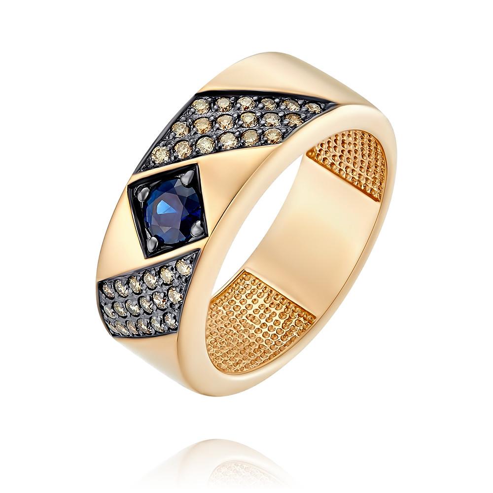 Купить Кольцо из красного золота 585 пробы с бриллиантом, сапфиром, Другие, Красный, Для женщин, 1455812/01-А50Д-432