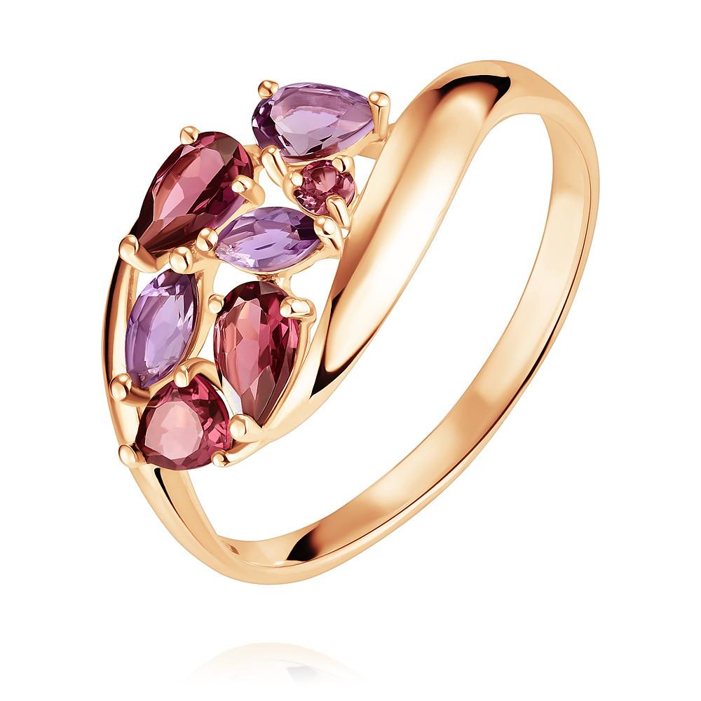 Купить Кольцо из красного золота 585 пробы с миксом вставок, SOKOLOV, Красный, Для женщин, 1455867/01-А50-670