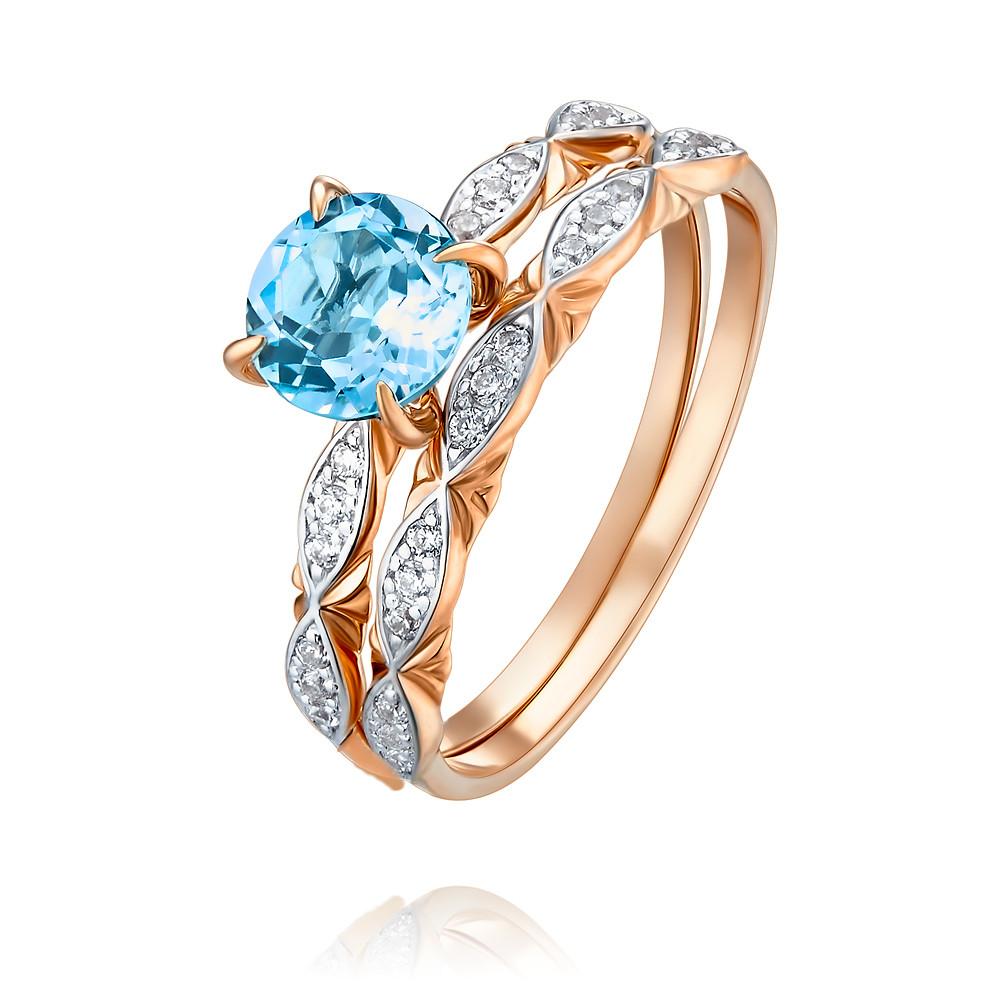 Купить Кольцо из красного золота 585 пробы с топазом, Другие, Красный, Для женщин, 1455961/01-А50Д-659
