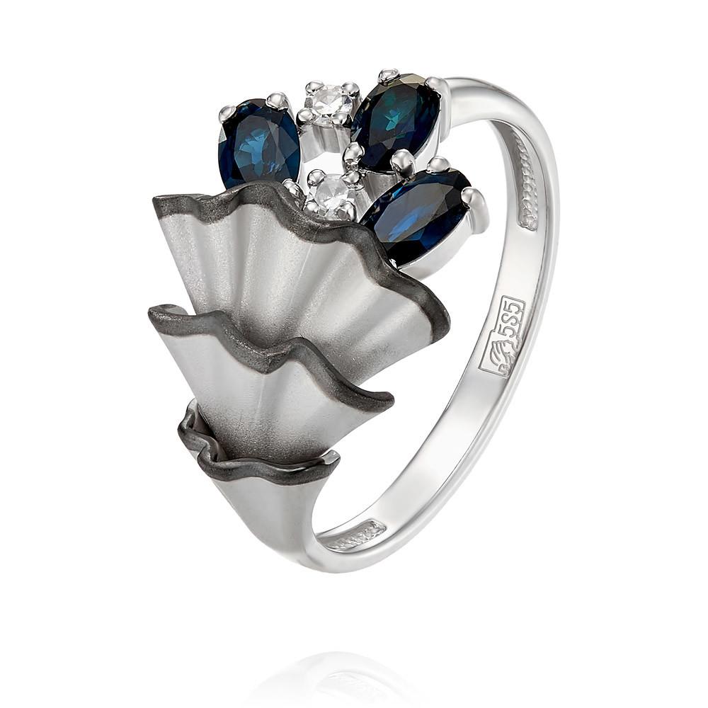 Купить Кольцо из белого золота 585 пробы с бриллиантом, сапфиром, Другие, Белый, Для женщин, 1455971/01-А511Д-432