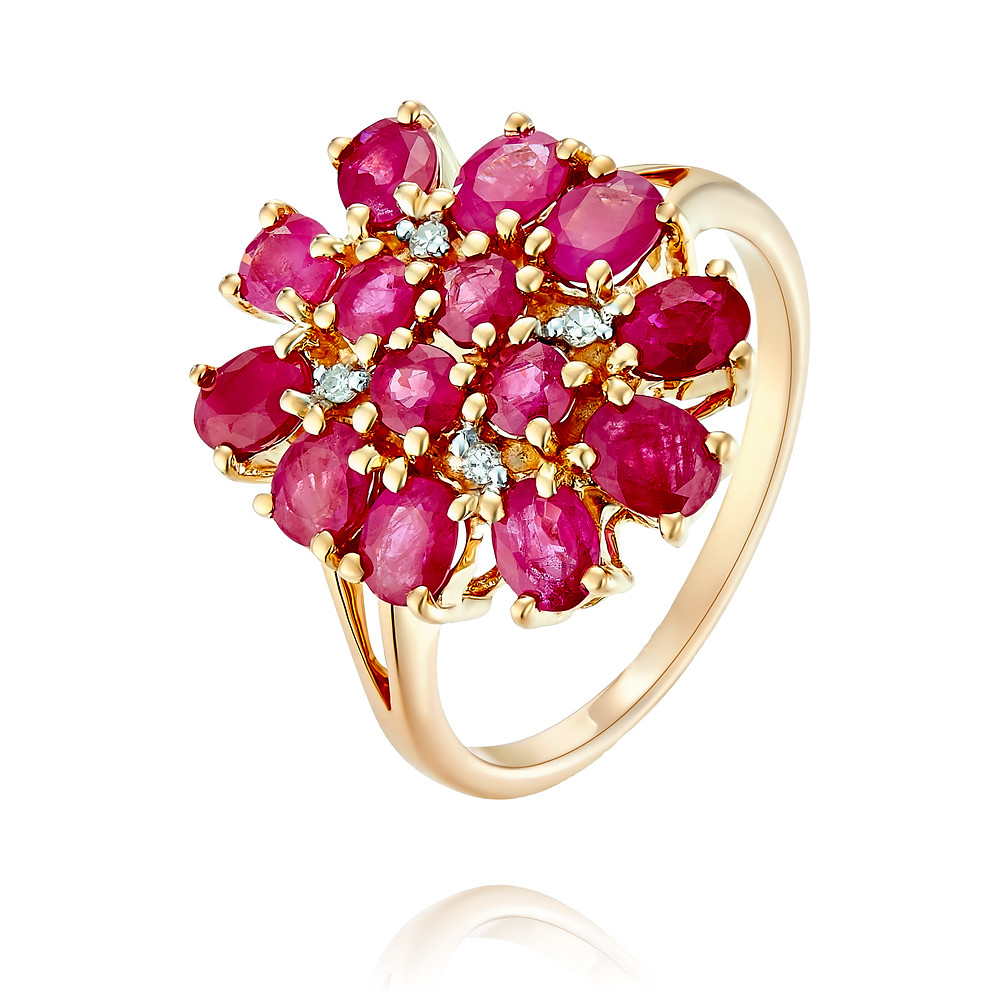 Купить Кольцо из красного золота 585 пробы с бриллиантом, рубином, Другие, Красный, Для женщин, 1456053/01-А50-431
