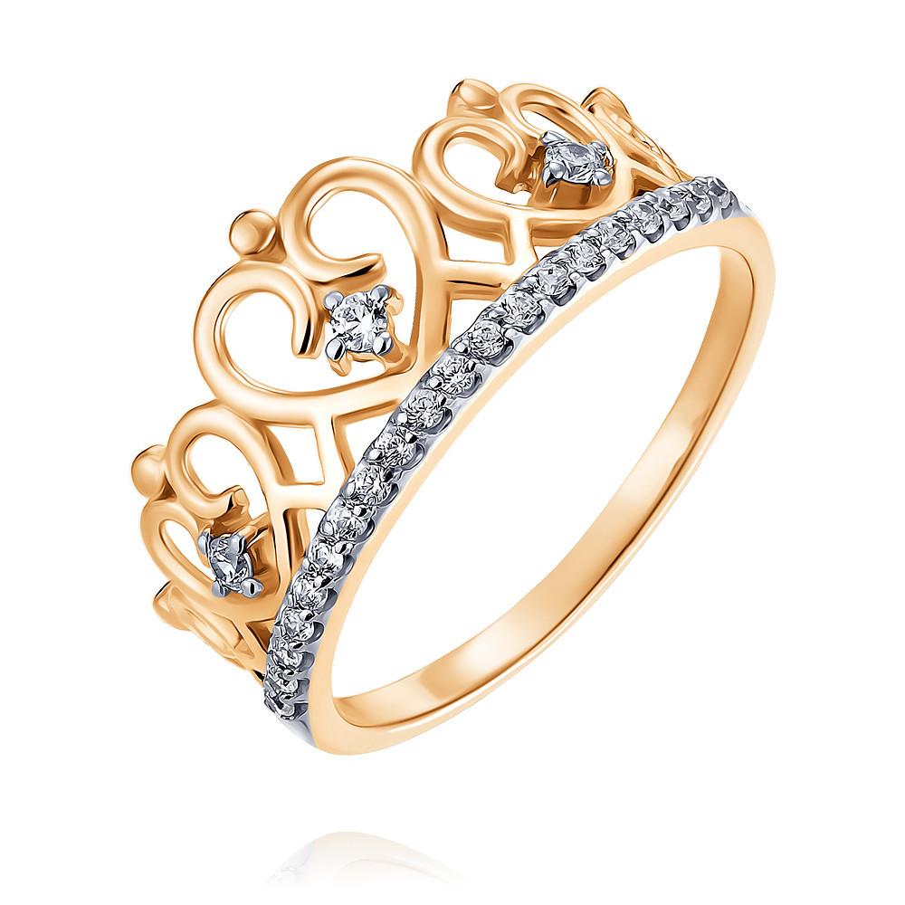 Кольцо из красного золота 585 пробы с фианитом, Другие, Красный, Для женщин, 1456156/01-А50Д-72  - купить со скидкой