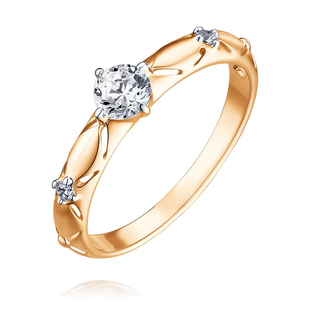 Купить Кольцо из красного золота 585 пробы с фианитом, SOKOLOV, Красный, Для женщин, 1456165/01-А50Д-72