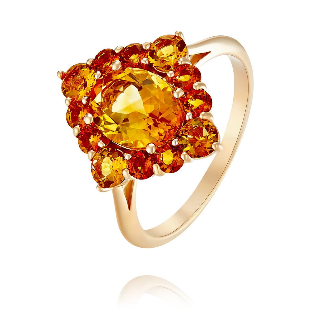Кольцо из красного золота 585 пробы с цитриномКольца<br><br><br>Вставка: Цитрин<br>Вес: 3.48 г<br>Артикул: 1456211/01-А50-664<br>Цвет: Красный<br>Металл: Золото<br>Проба: 585<br>Пол: Для женщин