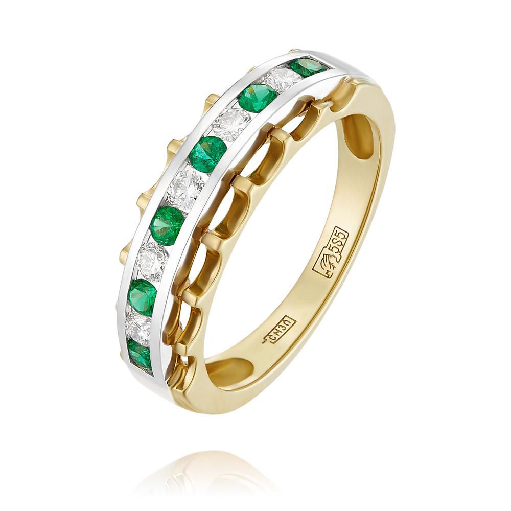 Купить Кольцо из желтого золота 585 пробы с бриллиантом, изумрудом, Другие, Желтый, Для женщин, 1456344/01-А55Д-433