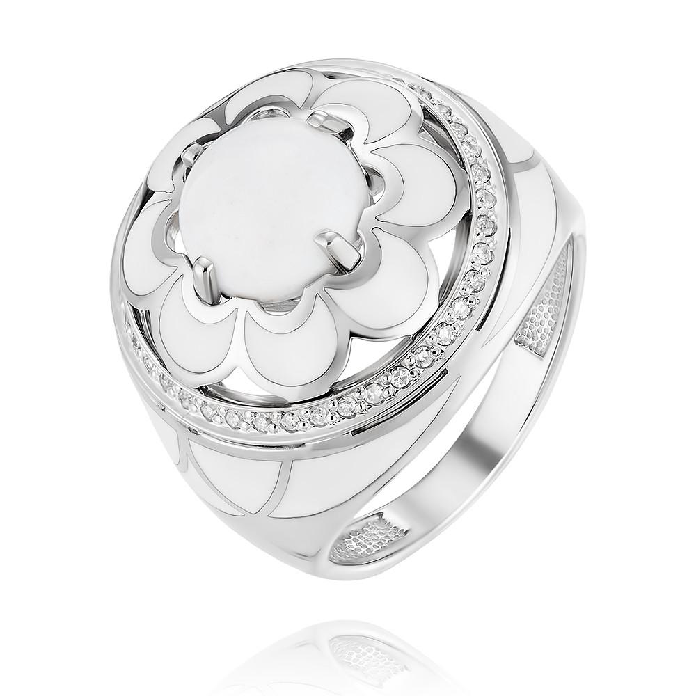 Купить Кольцо из белого золота 585 пробы с агатом, бриллиантом, Другие, Белый, Для женщин, 1456402/01-А511Д-461