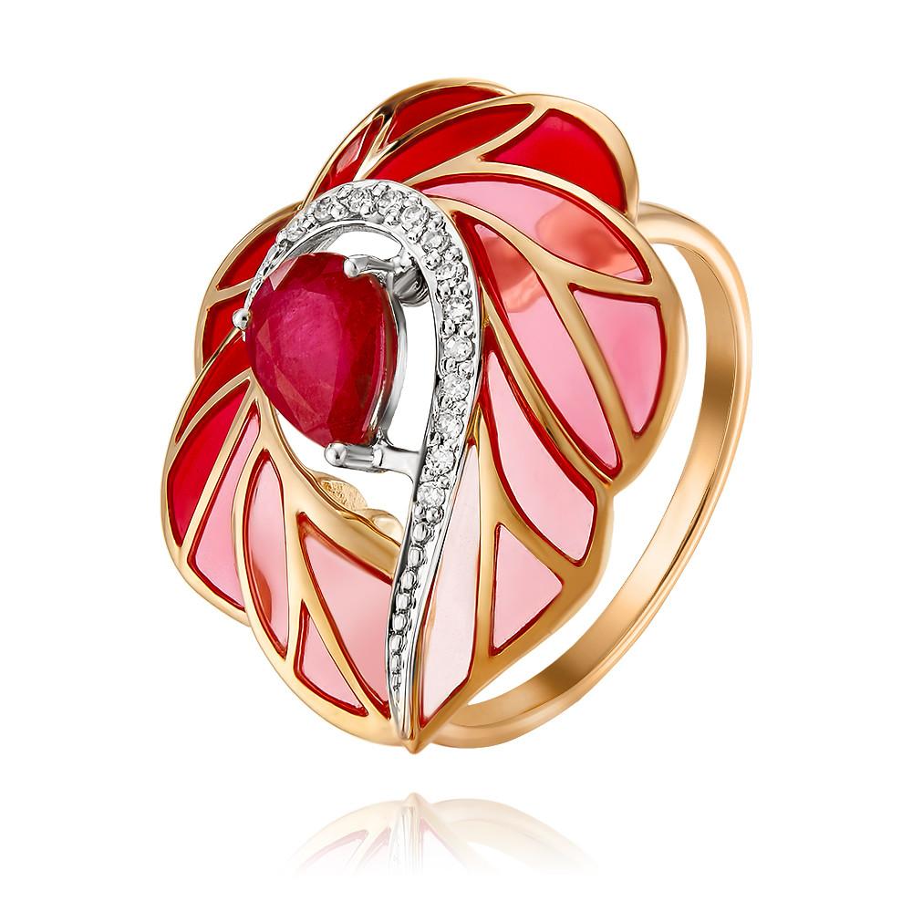 Купить Кольцо из красного золота 585 пробы с бриллиантом, рубином, Другие, Красный, Для женщин, 1456583/01-А50Д-431