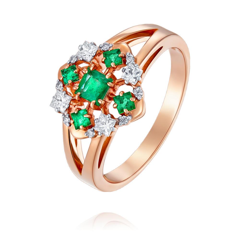 Купить Кольцо из красного золота 585 пробы с бриллиантом, изумрудом, Другие, Красный, Для женщин, 1457039/01-А50Д-433