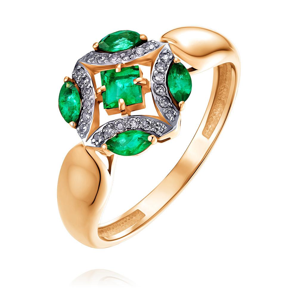 Купить Кольцо из красного золота 585 пробы с бриллиантом, изумрудом, Другие, Красный, Для женщин, 1457041/01-А50Д-433