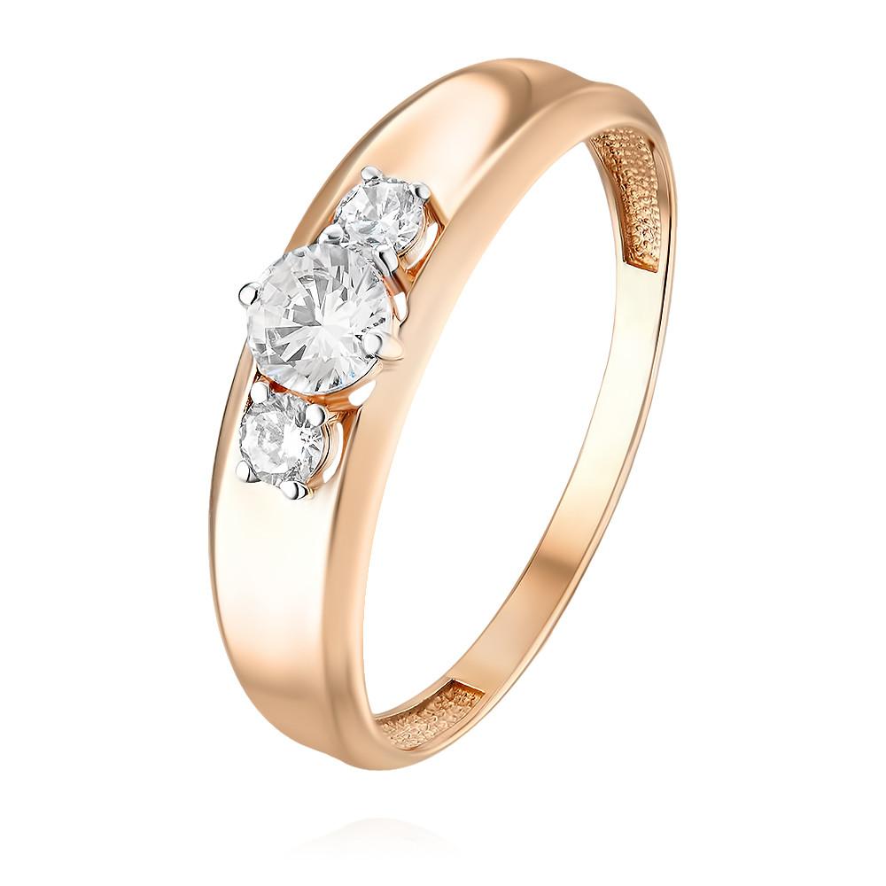 Купить Кольцо из красного золота 585 пробы с фианитом, Другие, Красный, Для женщин, 1457060/01-А50Д-72
