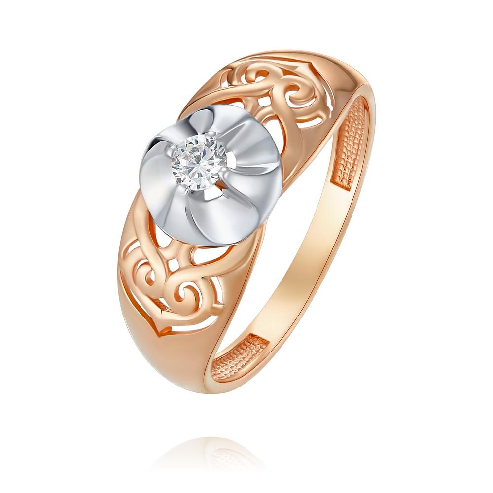 Купить Кольцо из красного золота 585 пробы с фианитом, Другие, Красный, Для женщин, 1457072/01-А50Д-72