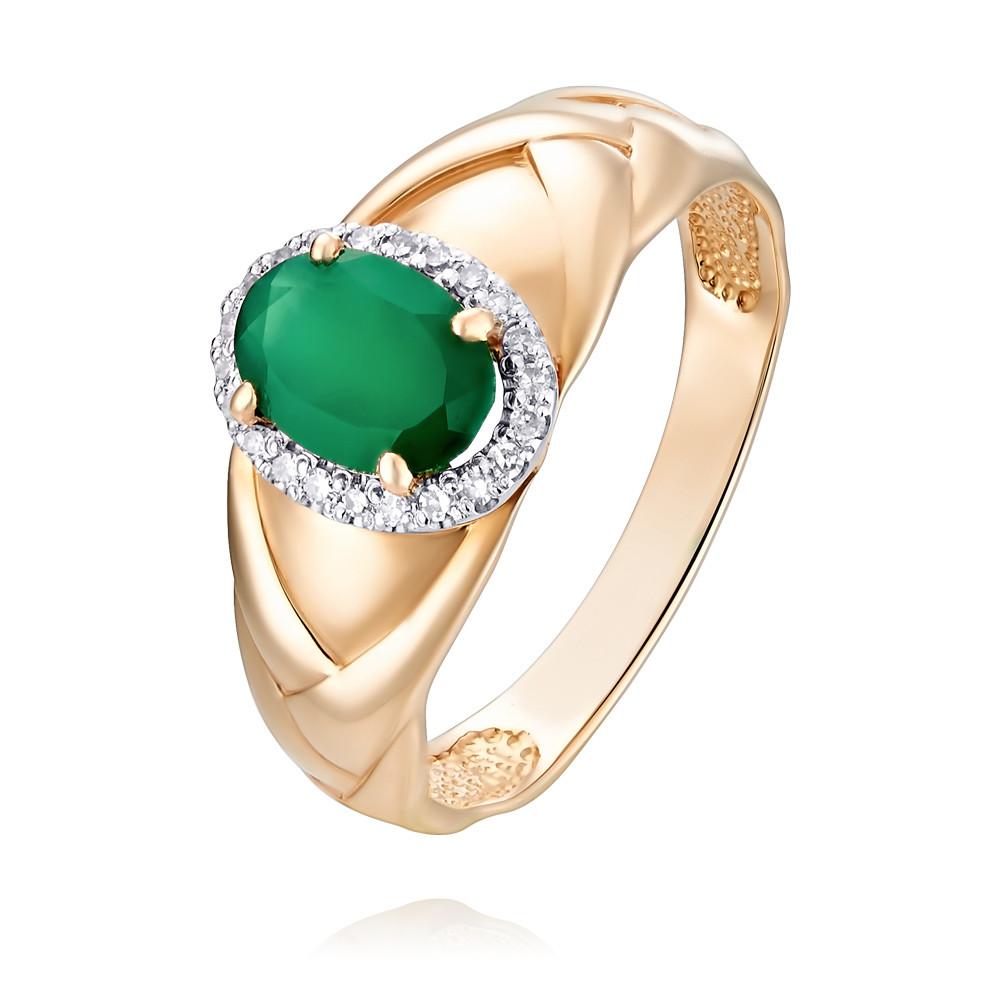 Купить со скидкой Кольцо из красного золота 585 пробы с агатом и бриллиантом