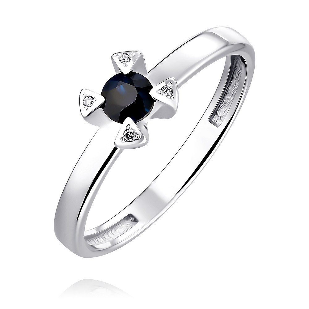 Купить Кольцо из белого золота 585 пробы с бриллиантом, сапфиром, Другие, Белый, Для женщин, 1457510/01-А511Д-432