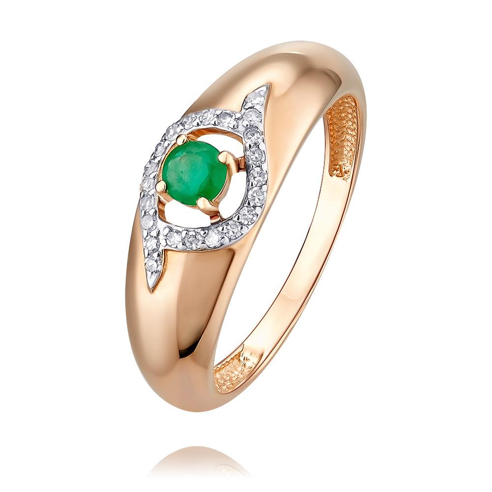 Кольцо из красного золота 585 пробы с изумрудом и бриллиантом