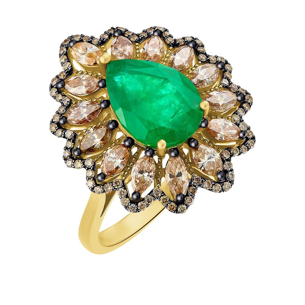 Кольцо из желтого золота 585 пробы с изумрудом и бриллиантом