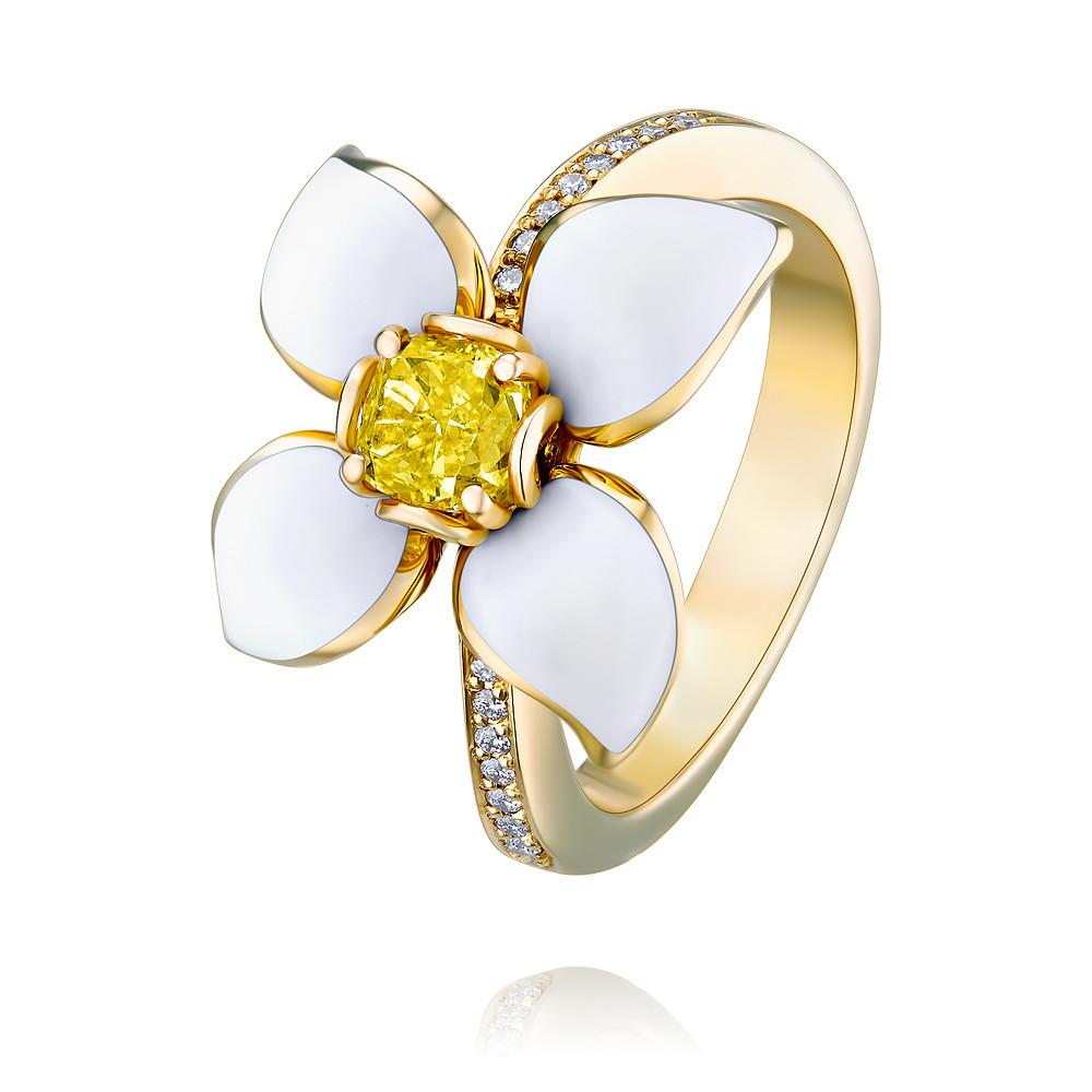 Купить со скидкой Кольцо из   золота 750 пробы с бриллиантом, эмалью