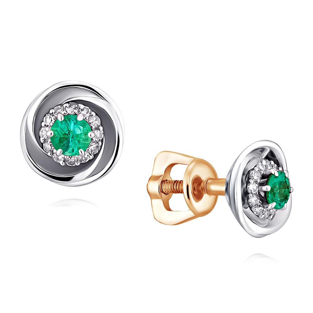 Купить Серьги из красного золота 585 пробы с бриллиантом, изумрудом, Другие, Красный, Для женщин, 2154823/01-А50Д-433