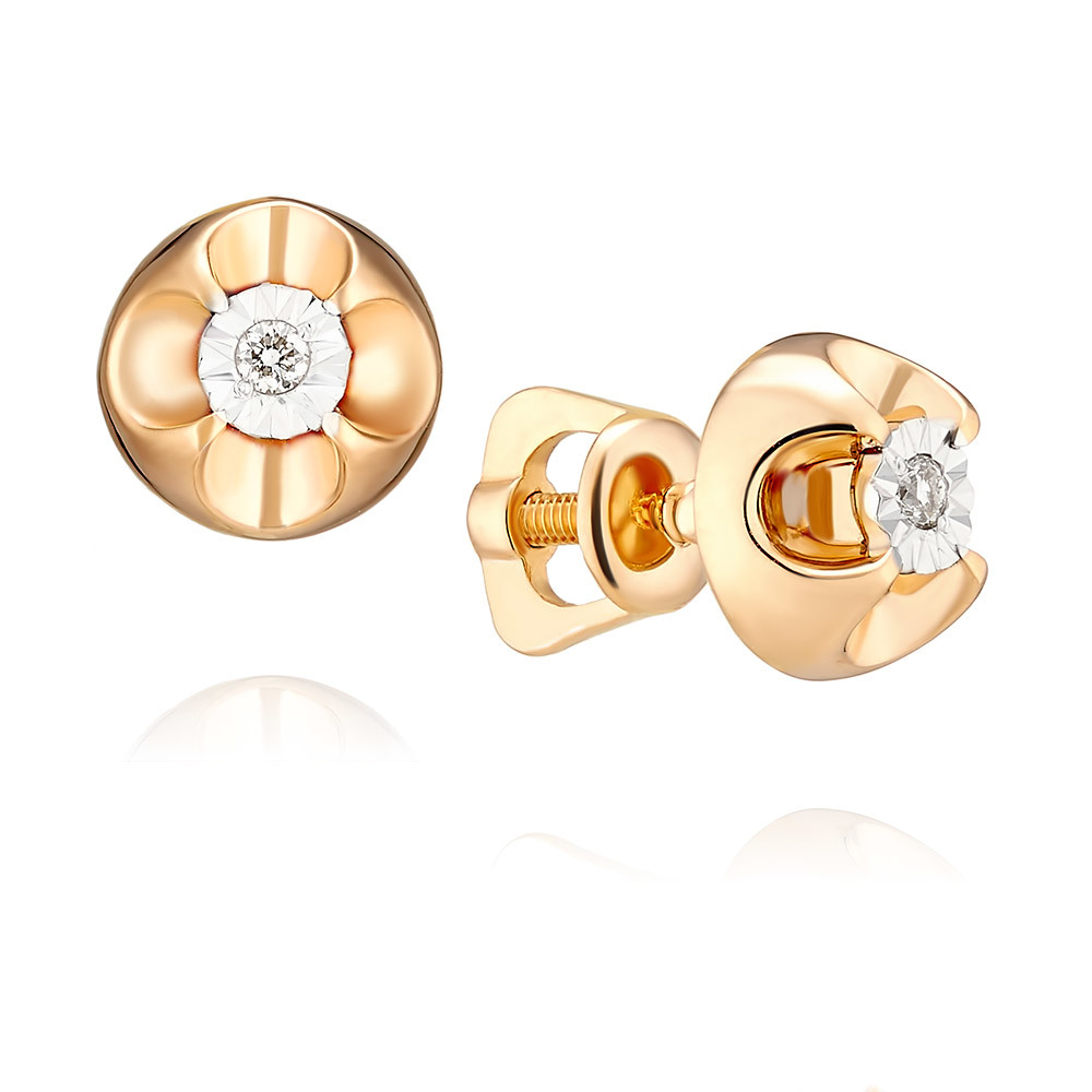 Купить Серьги из красного золота 585 пробы с бриллиантом, Другие, Красный, Для женщин, 2155917/01-А507Д-41