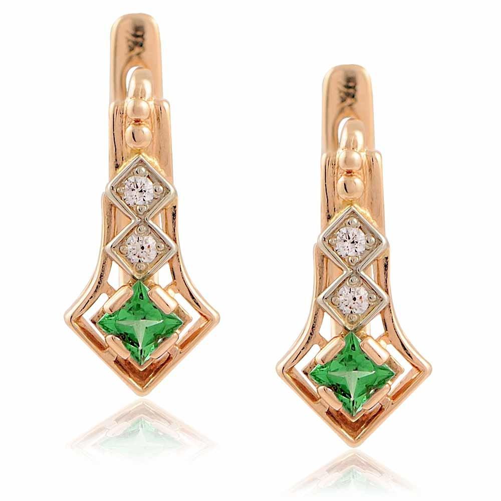 Купить Серьги из красного золота 585 пробы с бриллиантом, изумрудом, АДАМАС, Красный, Для женщин, 2400423-А50-433