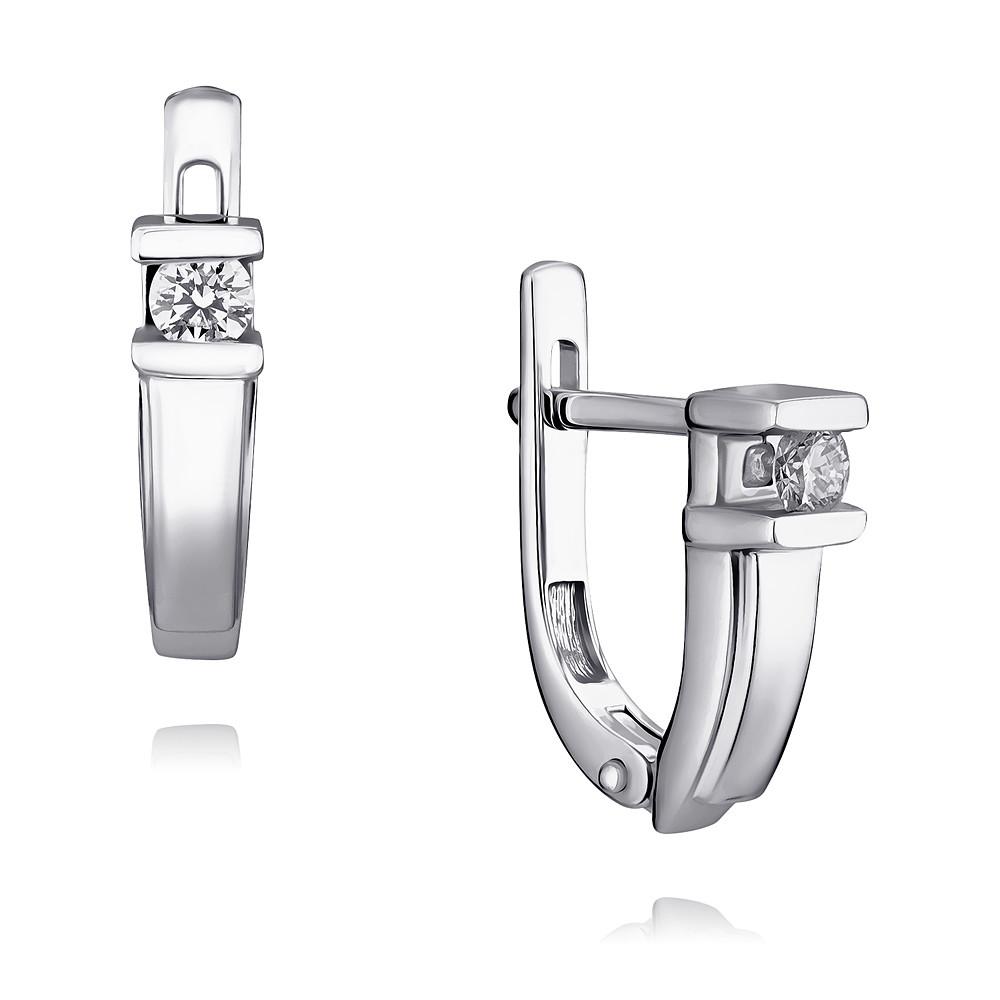 Купить Серьги из белого золота 585 пробы с бриллиантом, АДАМАС, Белый, Для женщин, 2400835-А51-41