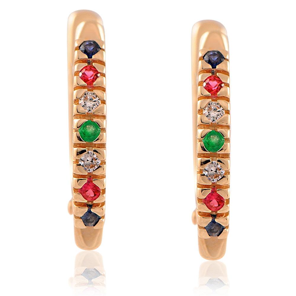 Купить Серьги из красного золота 585 пробы с бриллиантом, миксом вставок, АДАМАС, Красный, Для женщин, 2401049-А500-430