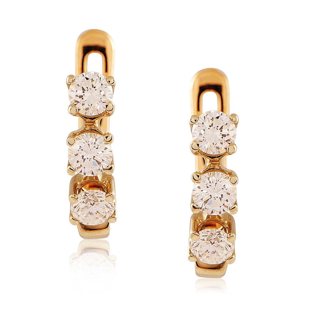 Купить Серьги из красного золота 585 пробы с бриллиантом, Другие, Красный, Для женщин, 2401612/02-А501-41