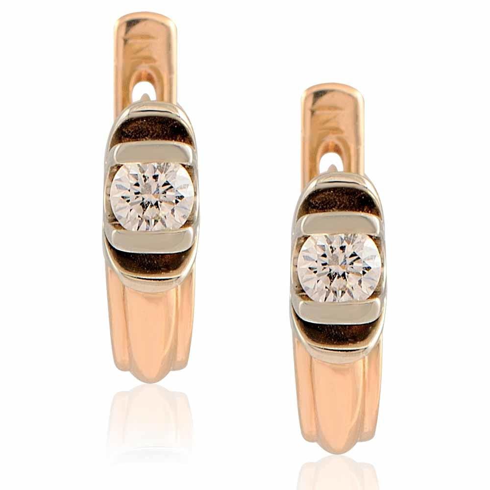 Купить Серьги из красного золота 585 пробы с бриллиантом, Другие, Красный, Для женщин, 2401660/02-А501-41